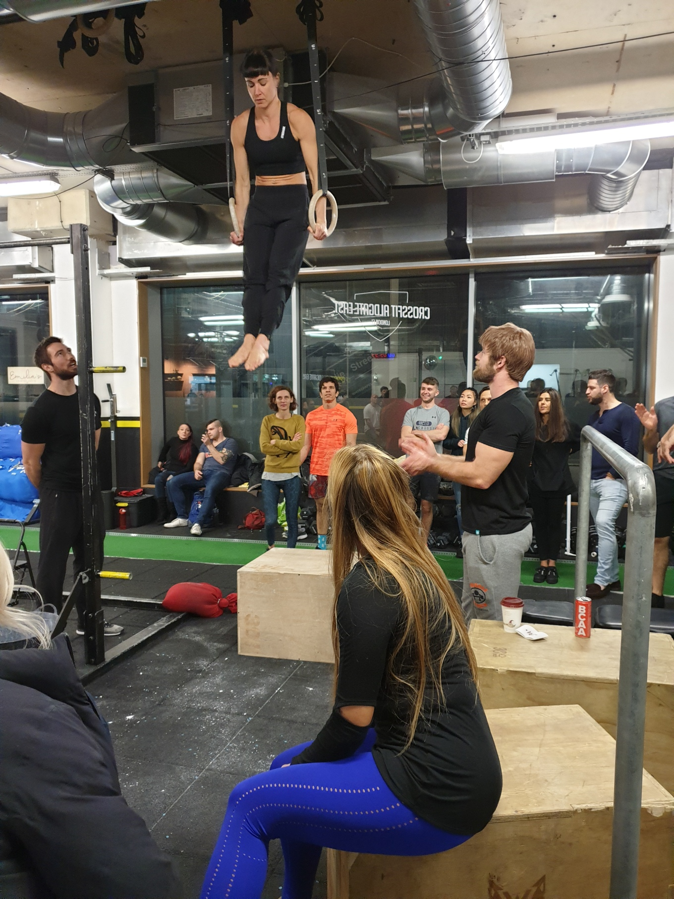 Ring muscle up action shot Crossfit aldgate DEC 2019